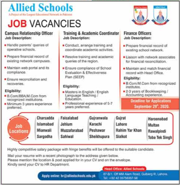 Allied Schools Jobs 2020 For Management Staff