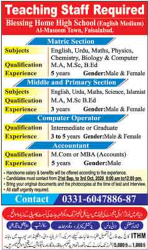 Blessing Home High School Jobs 2020 in Faisalabad