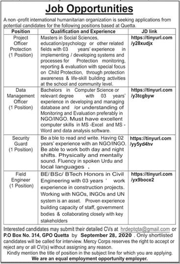 International Humanitarian Organization Jobs 2020 in Quetta