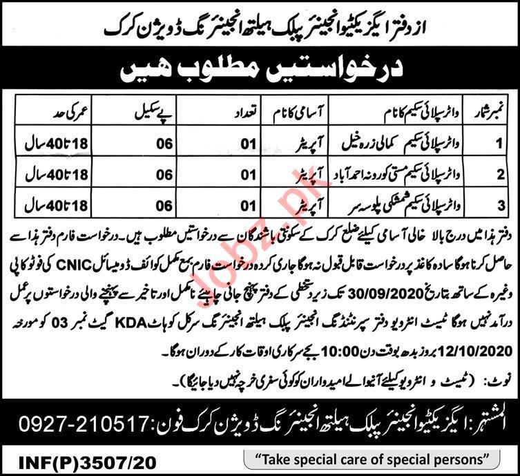 Public Health Engineering PHE Division Karak Jobs 2020