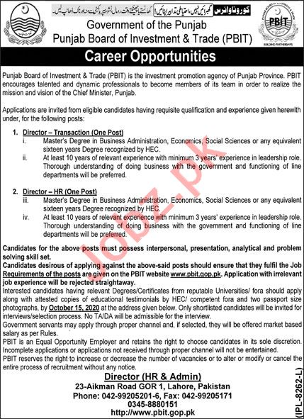 Punjab Board of Investment & Trade PBIT Lahore Jobs 2020
