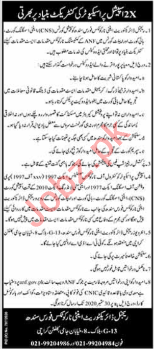 Special Prospector Jobs in Anti Narcotics Force ANF Karachi