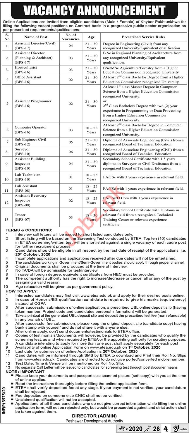 PDA Peshawar Jobs 2020 for Assistant Director & Engineer