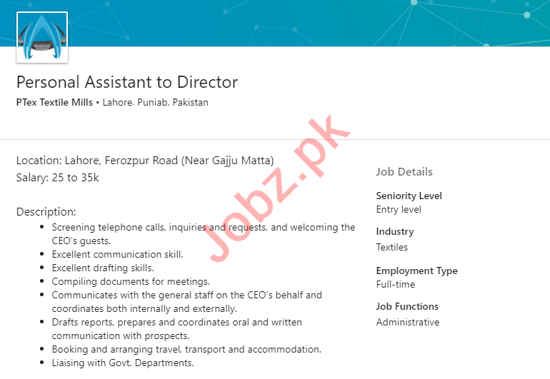 PTex Textile Mills Lahore Jobs 2020 for Personal Assistant