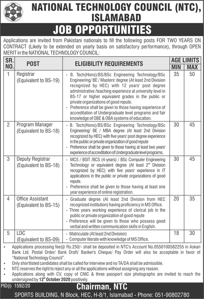 National Technology Council NTC Jobs 2020 in Islamabad