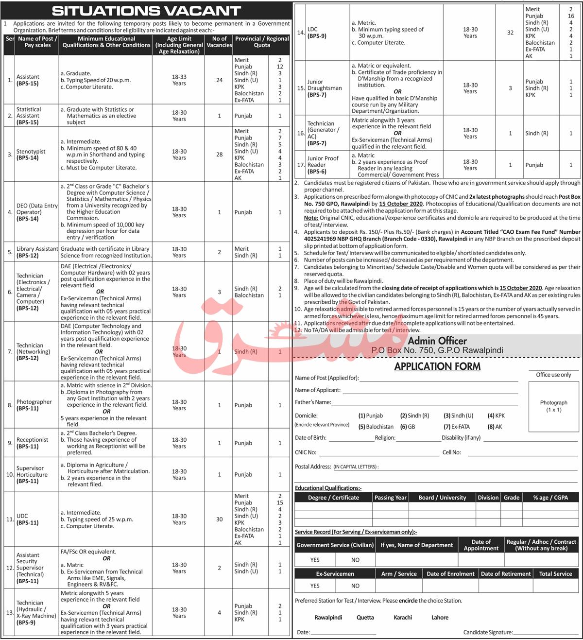 Government Organization Jobs 2020 in Rawalpindi