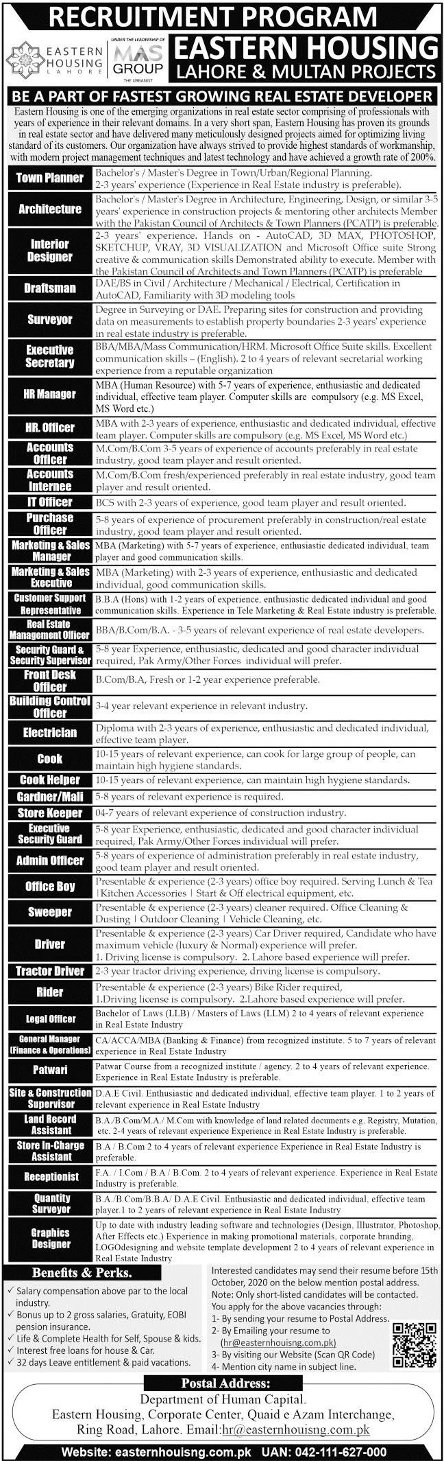 Eastern Housing Lahore Jobs 2020
