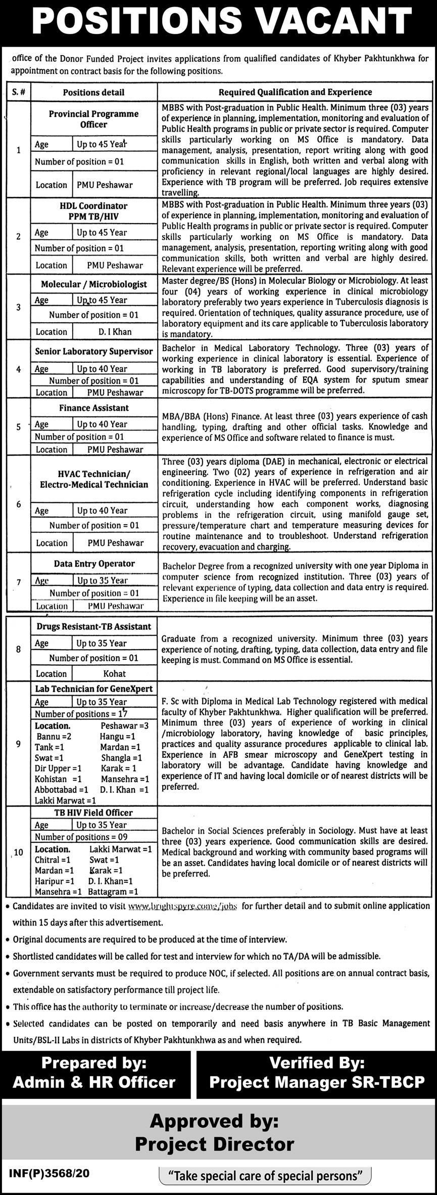 Donor Funded Project Jobs 2020 in Peshawar KPK