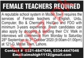 Aims High school Lahore Jobs 2020 for Female Teachers