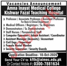 Kishwar Fazal Teaching Hospital Lahore Jobs 2020