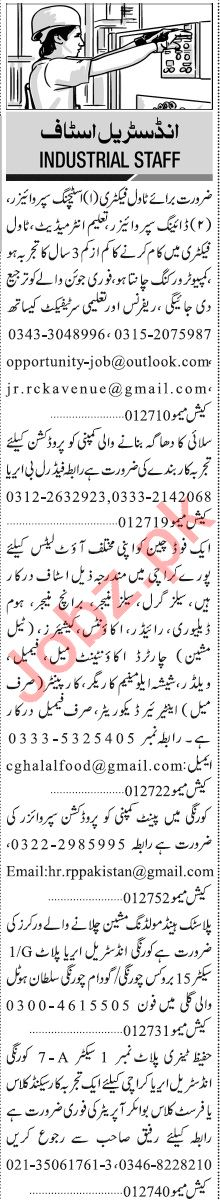 Jang Sunday Classified Ads 27 Sept 2020 for Industrial Staff