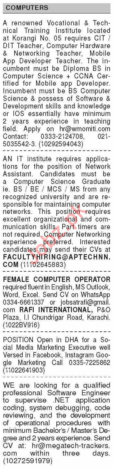 Dawn Sunday Classified Ads 27 Sept 2020 for Computer Staff