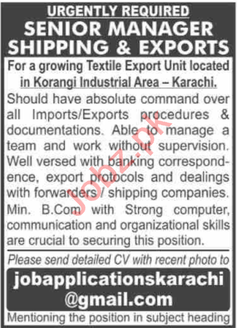 Senior Manager Shipping & Exports Jobs 2020 in Karachi