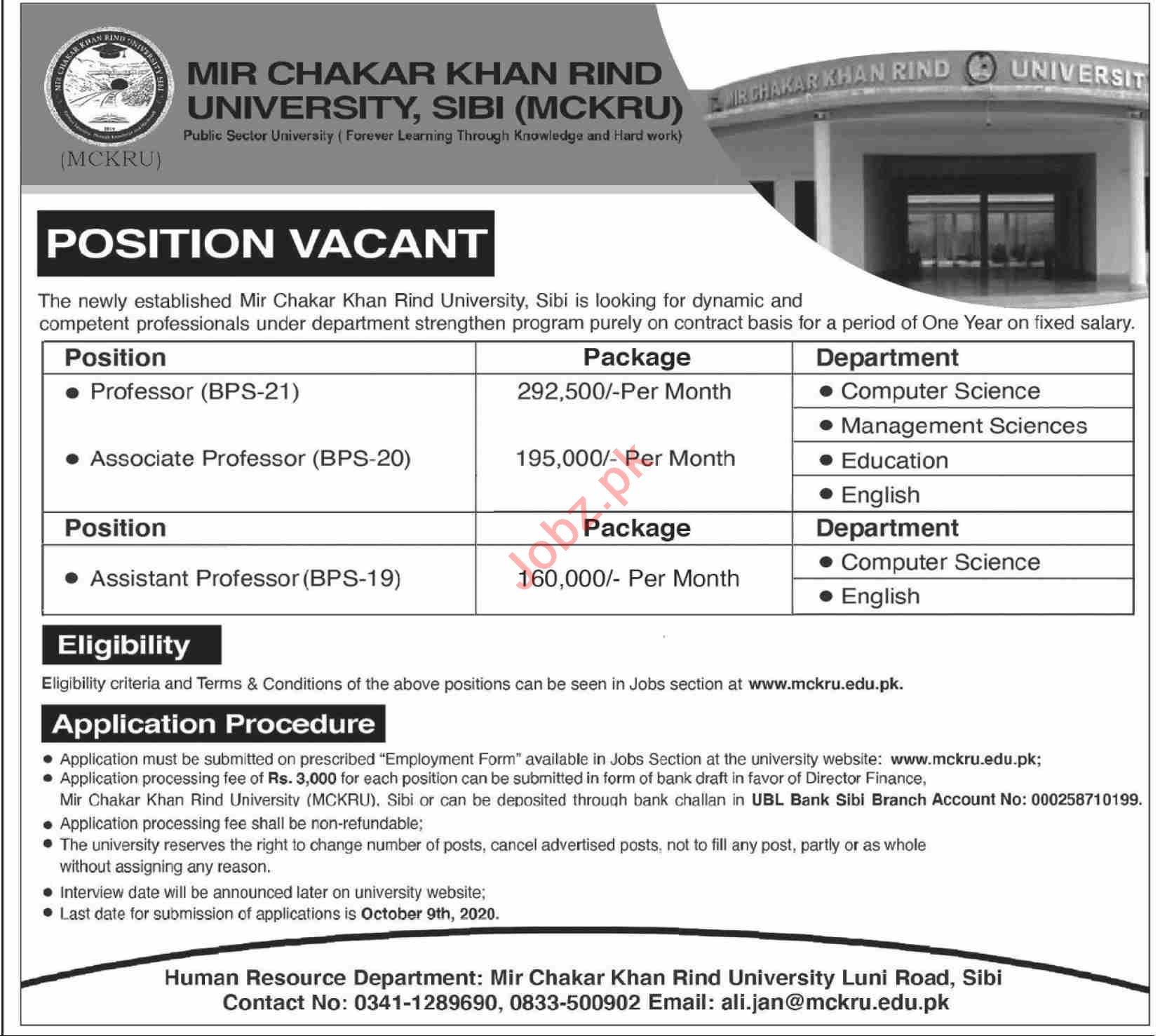 Mir Chakar Khan Rind University MCKRU Sibi Jobs 2020