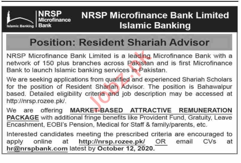 NRSP Microfinance Bank Jobs 2020 for Shariah Advisor