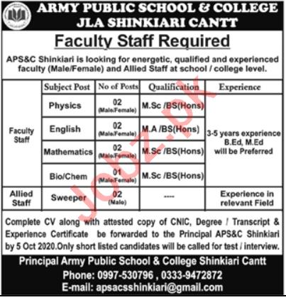 Army Public School & College APS&C Shinkiari Cantt Jobs 2020