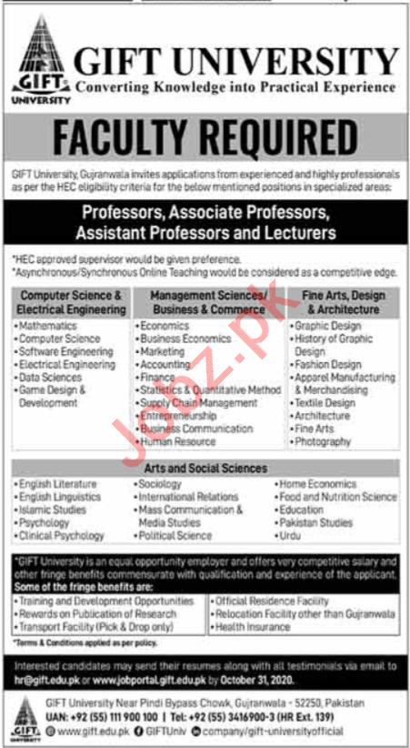 Gift University Gujranwala Jobs 2020 for Professors
