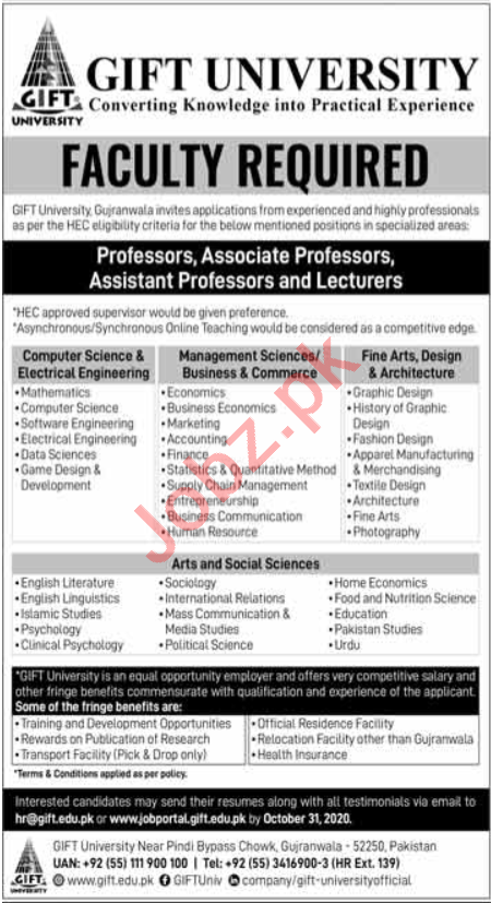 Professor & Lecturer Jobs in Gift University Gujranwala