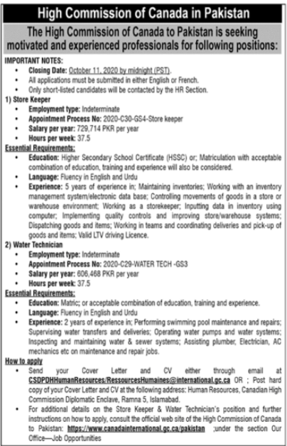 The High Commission Of Canada Jobs 2020 in Islamabad
