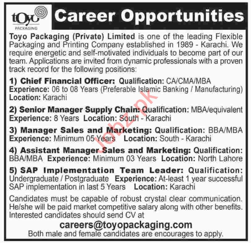 Chief Financial Officer & Assistant Manager Jobs 2020