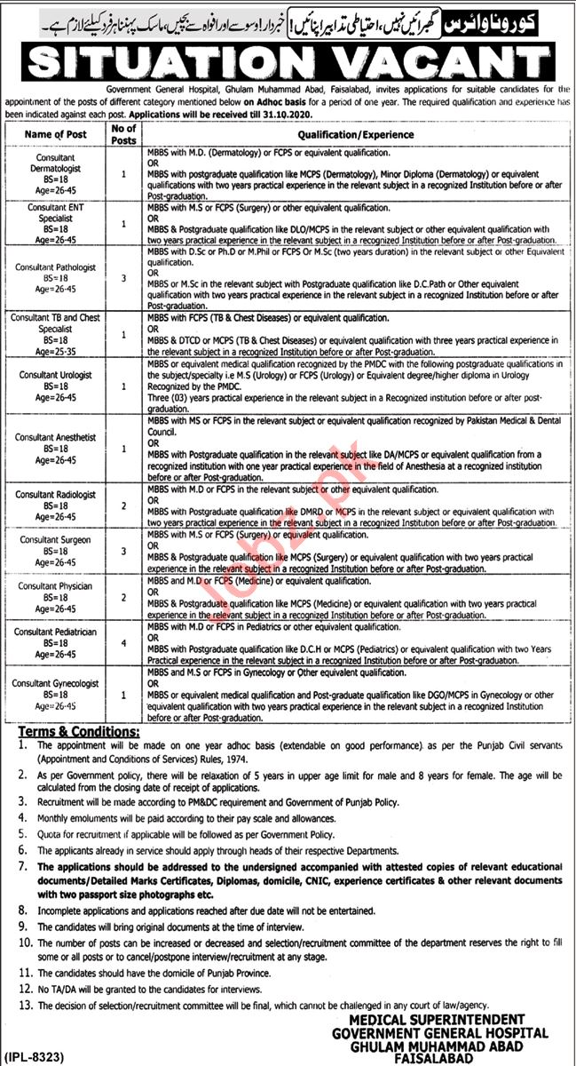 Government General Hospital Ghulam Muhammad Abad Jobs 2020