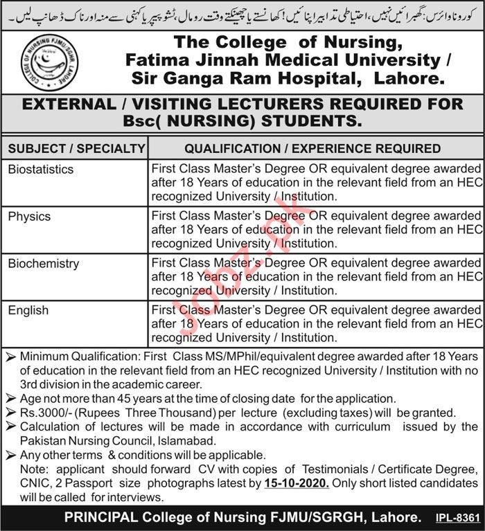 Fatima Jinnah Medical University FJMU Lahore Jobs 2020