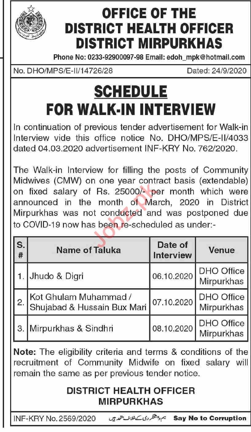 Health Department Mirpurkhas Jobs 2020 for Midwifes