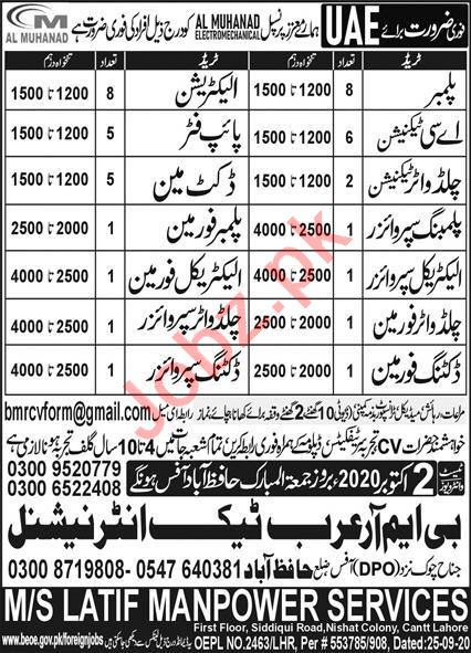 Electrical Supervisor & CHW Supervisor Jobs 2020 in UAE