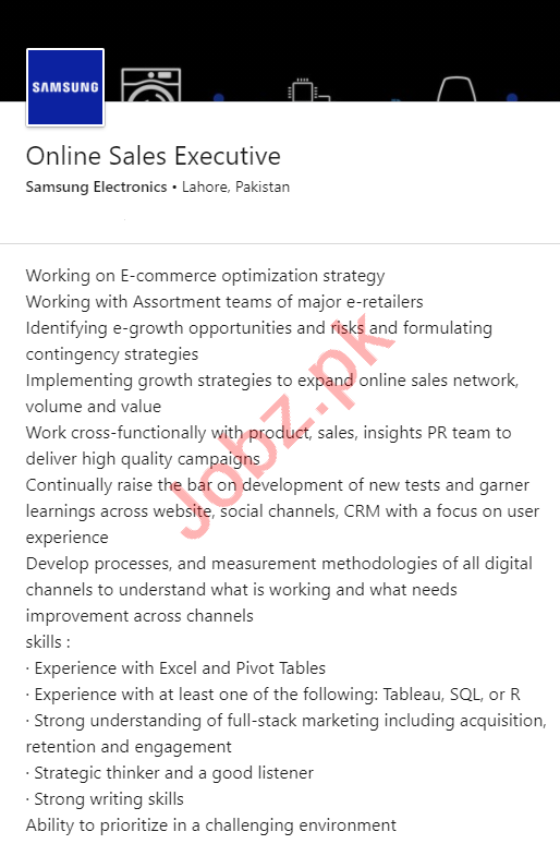 Samsung Electronics Lahore Jobs 2020 for Sales Executive