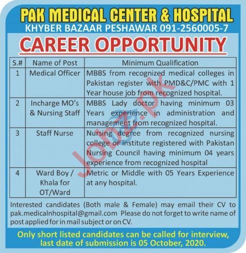 Pak Medical Center & Hospital Peshawar Jobs 2020 for Doctor