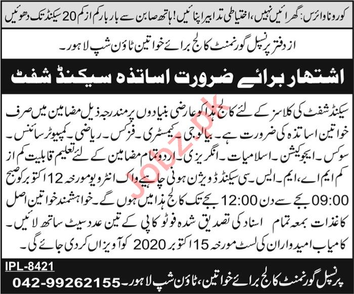 Government College for Women Township Lahore Jobs 2020