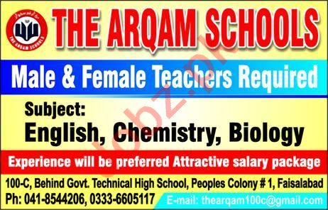The Arqam School Faisalabad Jobs 2020 for Teachers