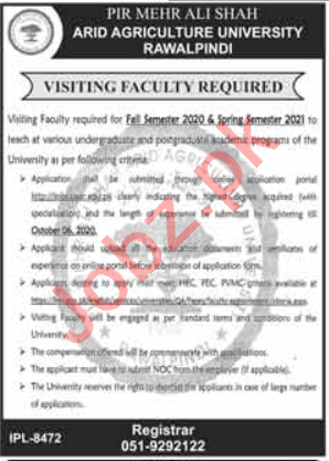PMAS Arid Agriculture University Visiting Faculty Jobs 2020