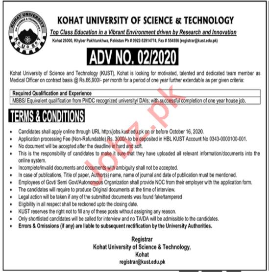 Medical Officer Jobs 2020 in KUST University Kohat
