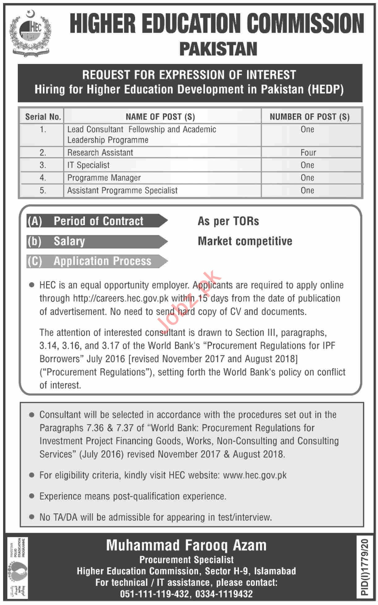 Higher Education Development in Pakistan HEDP Jobs 2020