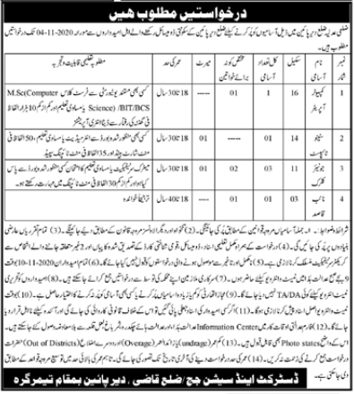 District & Session Court Jobs 2020 in Lower Dir KPK