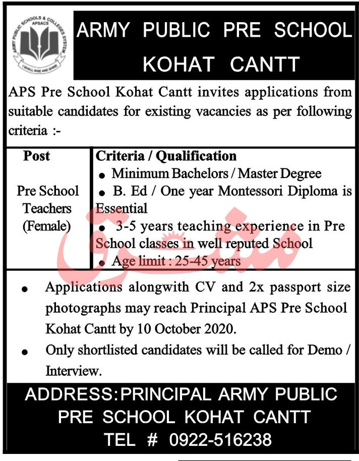 Army Public Pre School Jobs 2020 in Kohat Cantt KPK