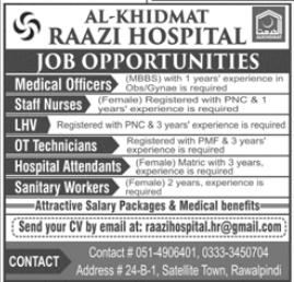 Al Khidmat Raazi Hospital Jobs 2020