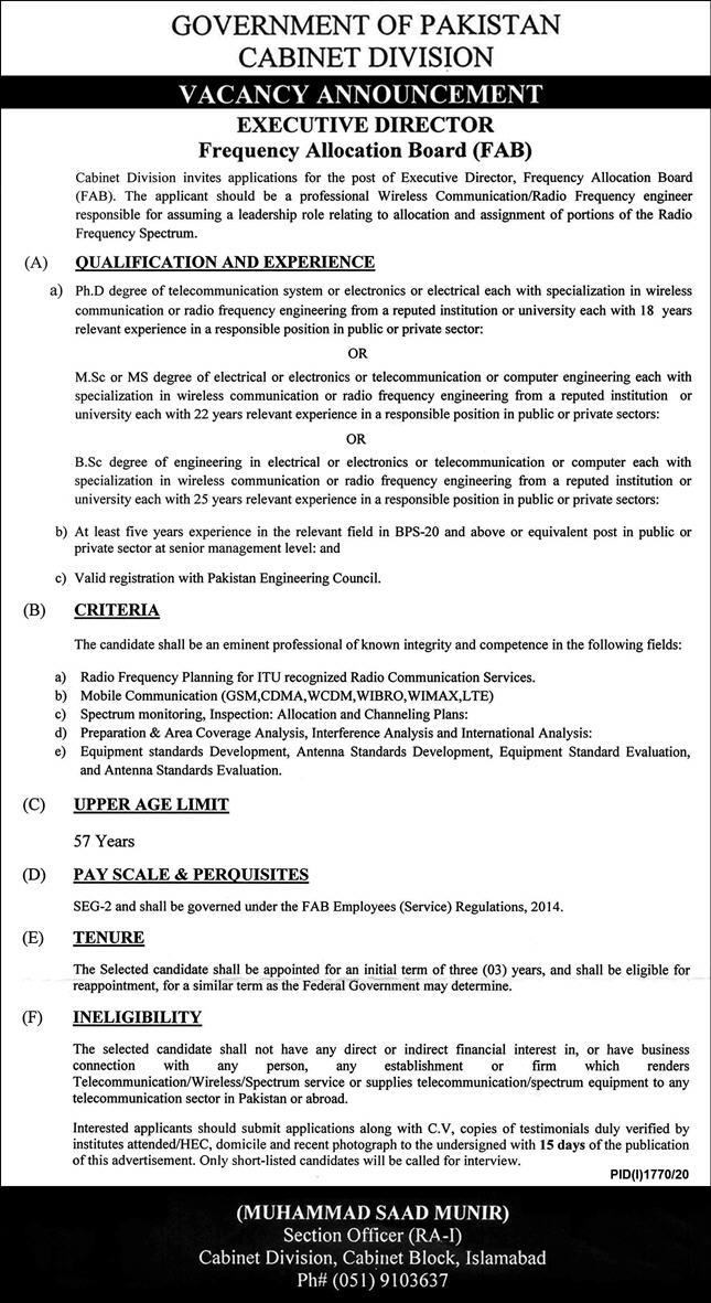 Cabinet Division Job 2020 For Executive Director