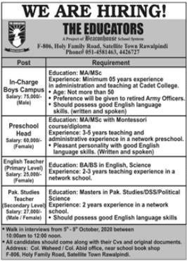The Educators Rawalpindi Jobs 2020
