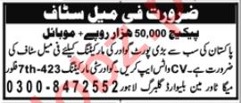 Gwadar City Marketing Lahore Jobs 2020 for Female Staff