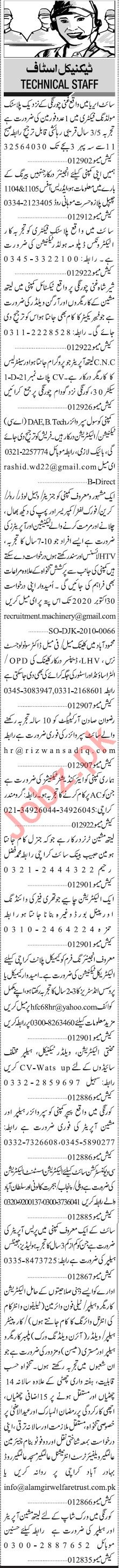 Jang Sunday Classified Ads 4 Oct 2020 for Manufacturing