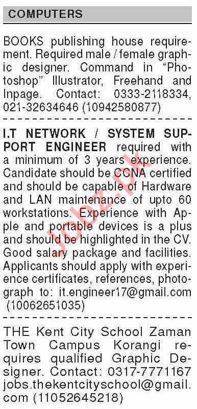 Dawn Sunday Classified Ads 4 Oct 2020 for Computer Staff