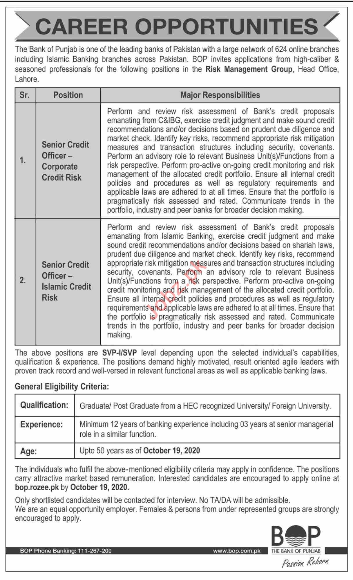 The Bank of Punjab BOP Jobs 2020 for Senior Credit Officer