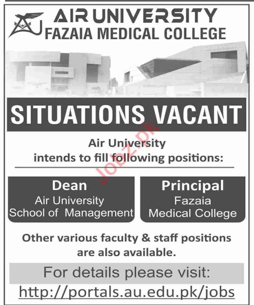 Air University AU Islamabad Jobs 2020 for Dean