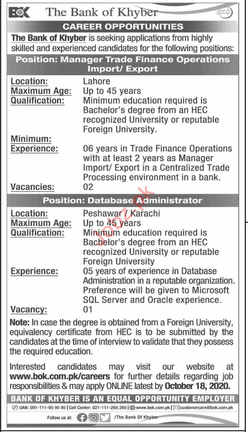 The Bank of Khyber BOK Jobs 2020 for Manager Trade Finance