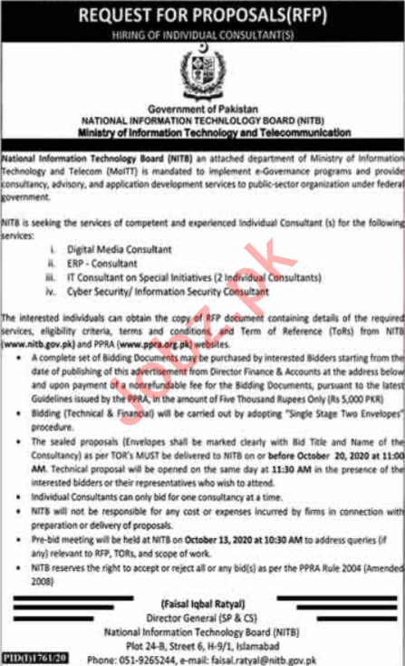 Consultant Jobs National Information Technology Board NITB
