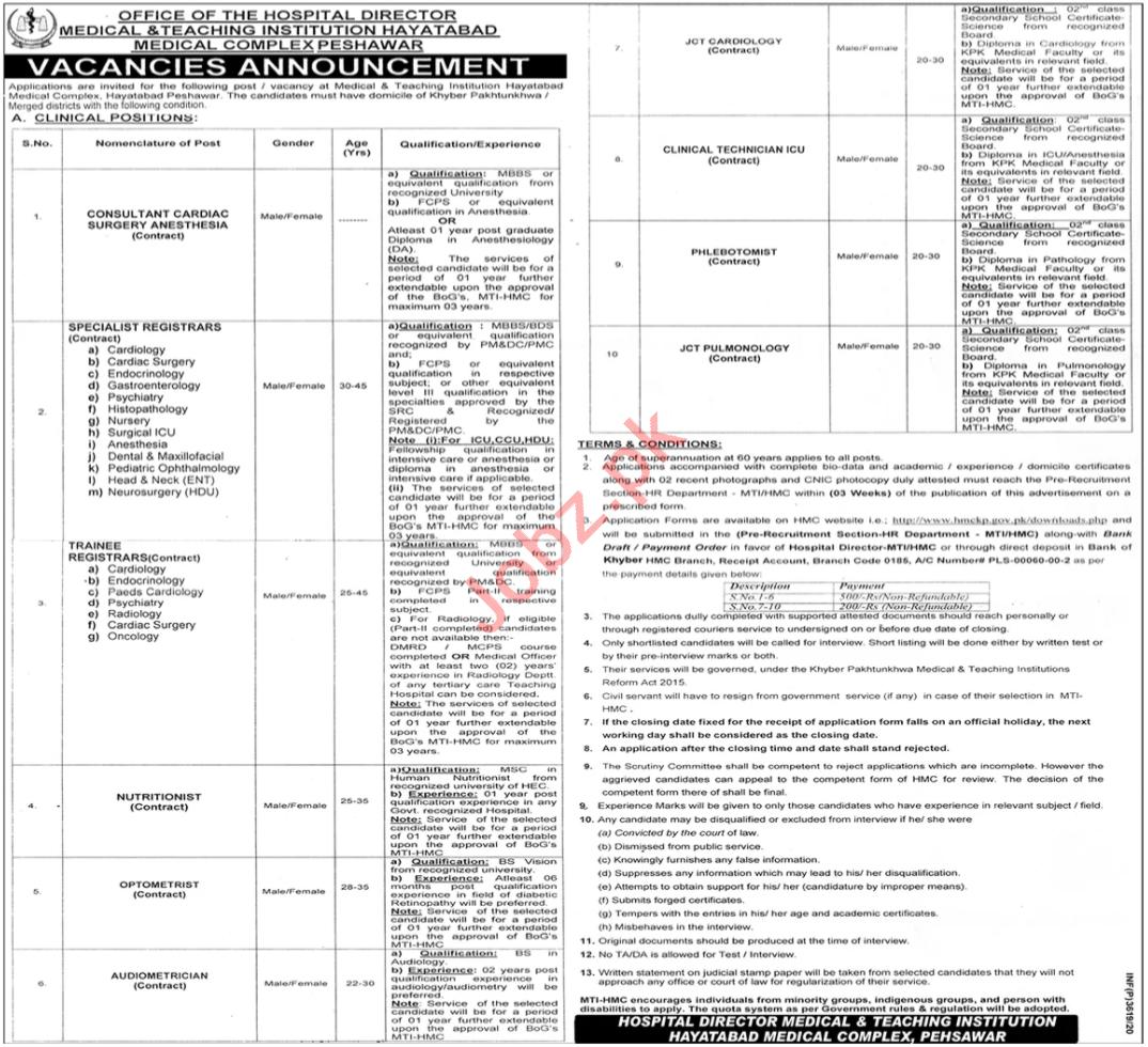 Registrar Jobs 2020 in Hayatabad Medical Complex HMC MTI