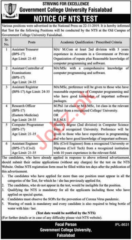 Government College University Faisalabad GCUF Jobs 2020