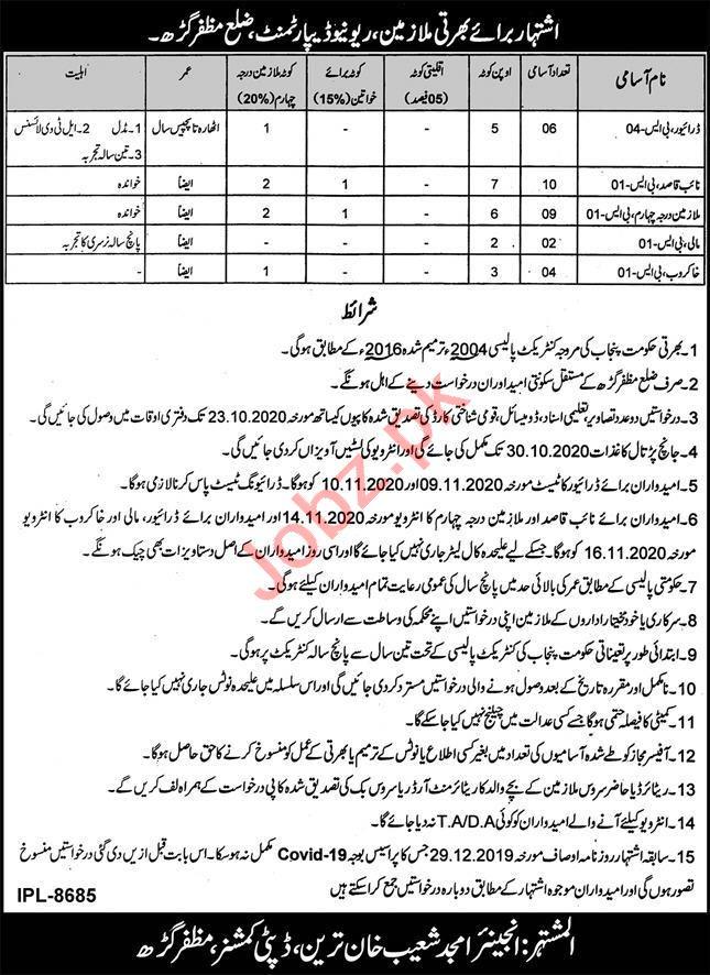 Revenue Department Muzaffargarh Jobs 2020 for Drivers